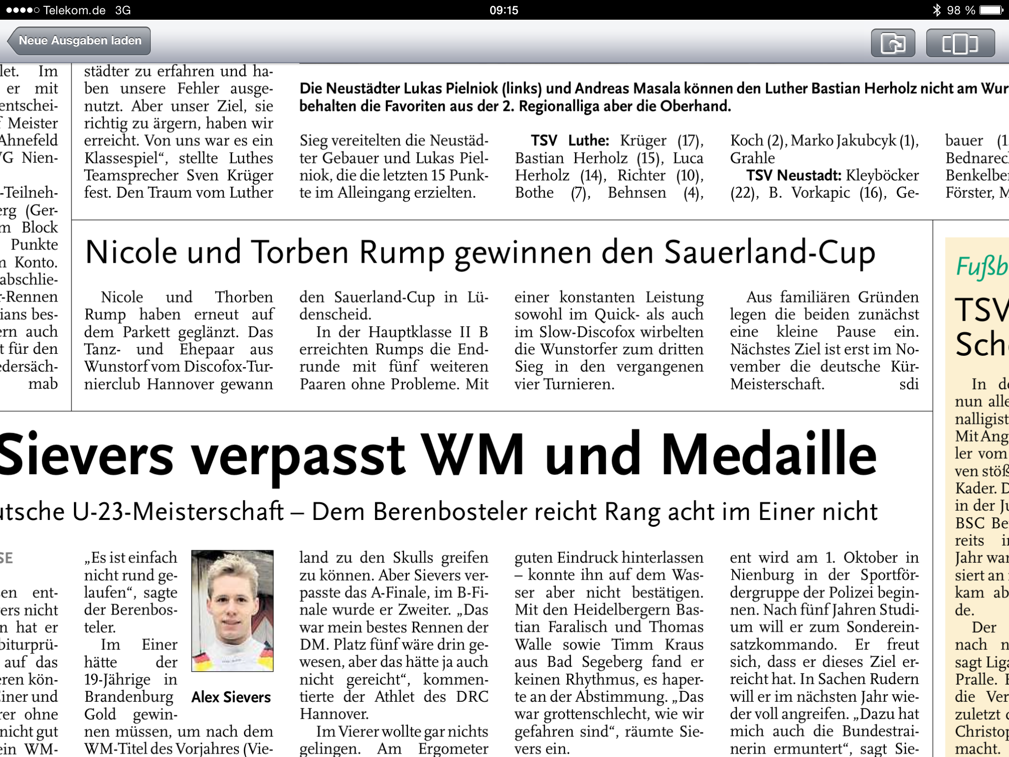 SauerlandCup 2014 - Leine Zeitung vom 01.07.2014